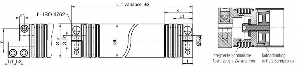 Metallbalgkupplung mit Zwischenrohr