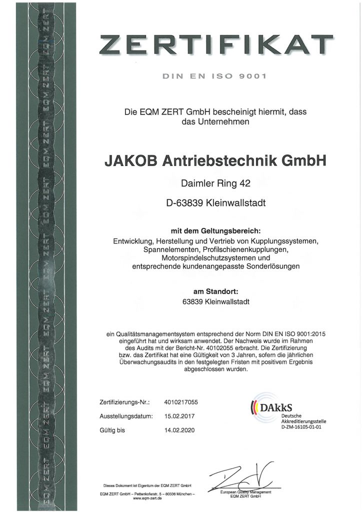 Zertifizierung JAKOB Antriebstechnik GmbH