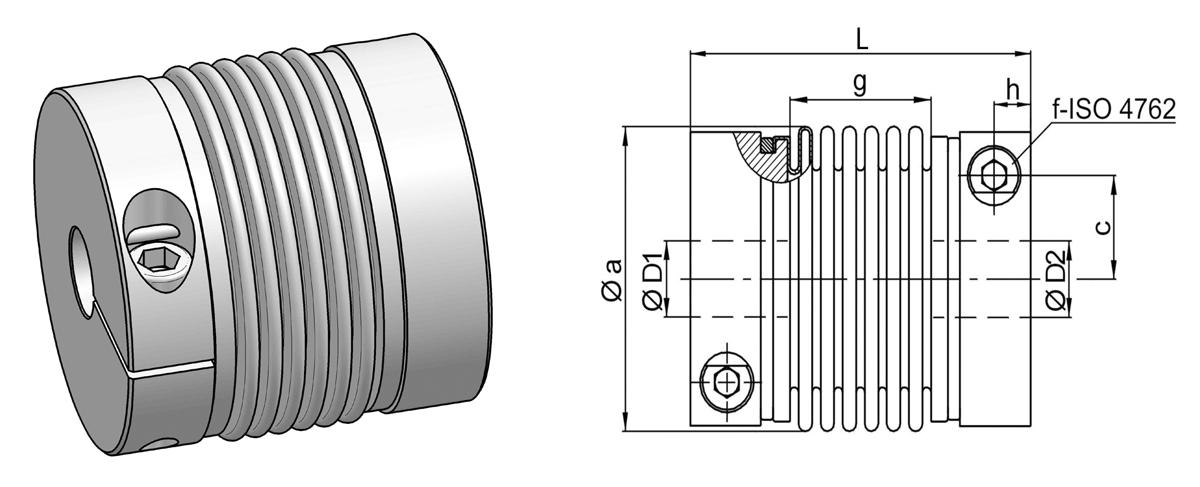 Miniatur-Metallbalgkupplung – Reihe MKM